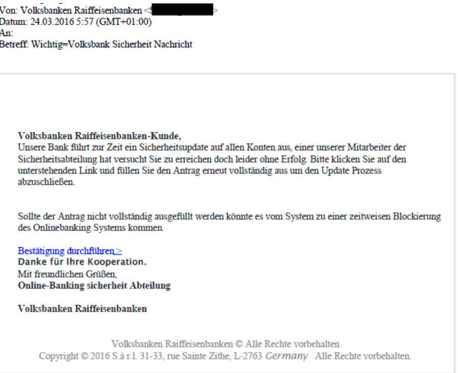 Phishing-Mail Volksbanken Raiffeisenbanken